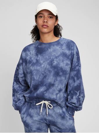 GAP - Vintage Soft Crewneck Sweatshirt CLOUDY BLUE TIE DYE