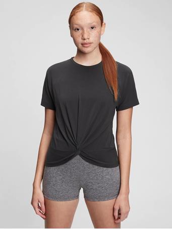 GAP - GapFit Twist-Front T-Shirt TRUE BLACK