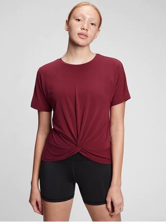 GAP - GapFit Twist-Front T-Shirt RED DELICIOUS