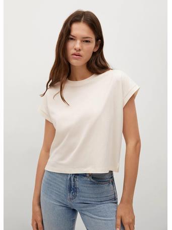 MANGO - Essential Cotton-blend T-shirt NATURAL WHITE