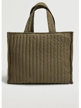 MANGO - Quilted Shopper Bag KHAKI