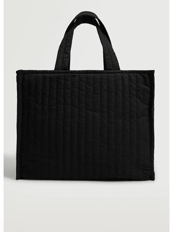 MANGO - Quilted Shopper Bag BLACK