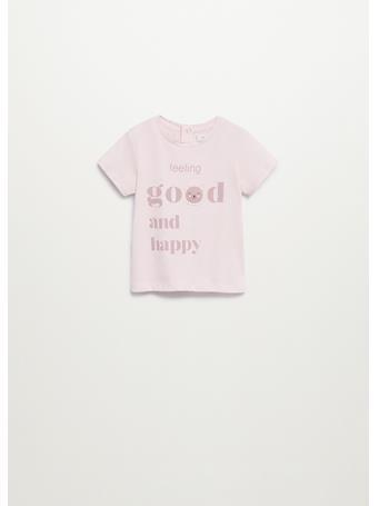 MANGO - Message Cotton T-shirt 82 LIGHT PINK