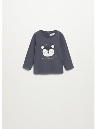 MANGO - Printed Long Sleeve T-shirt 95 CHARCOAL GREY