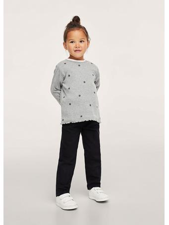 MANGO - Embroidered Long-sleeved T-shirt 94 GREY