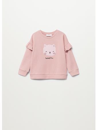 MANGO - Embroidered Detail Cotton Sweatshirt 82 LIGHT PINK