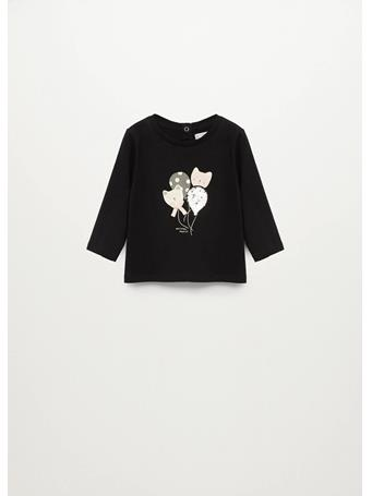 MANGO - Long-sleeved T-shirt With Sequins 99 BLACK