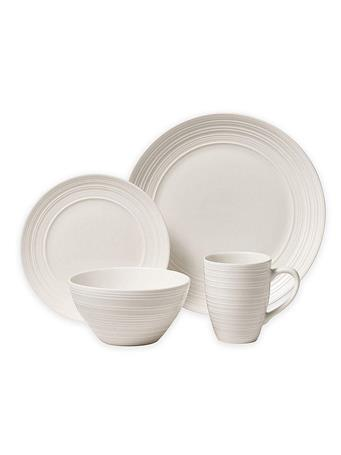 THOMSON POTTERY - 16 Piece Ripple Dinnerware Set WHITE