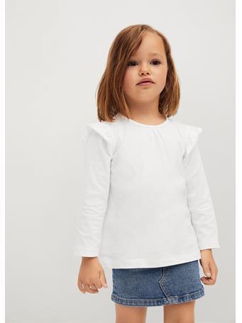 MANGO - Long -sleeved T-shirt With Ruffles 2 IVORY