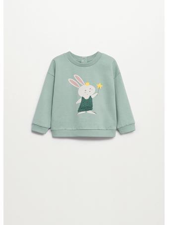 MANGO - Animal Printed Embossed Sweatshirt 40 LIGHT GREEN