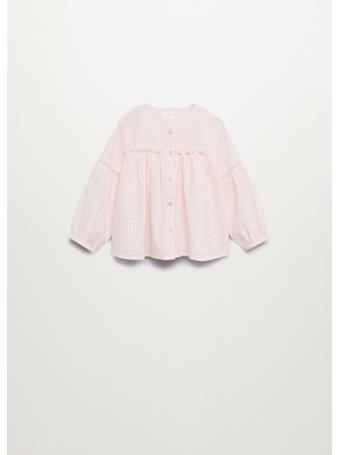 MANGO - Textured Cotton Blouse 85 PINK