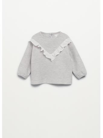 MANGO - Ruffled Textured Sweatshirt 91 LIGHT GREY
