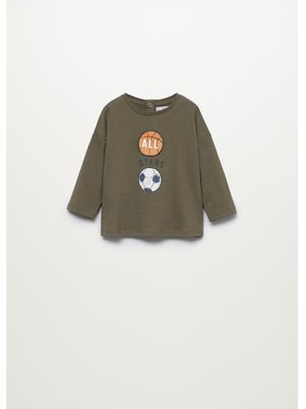 MANGO - Printed Long Sleeve T-shirt 37 KHAKI