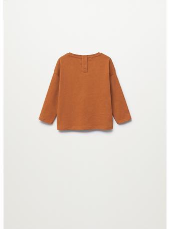 MANGO - Embossed Long-sleeved T-shirt 17 BROWN