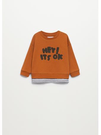 MANGO - Embossed Message Sweatshirt 17 BROWN
