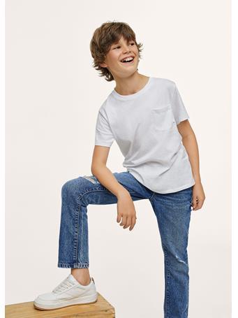 MANGO - Decorative Ripped Regular Jeans TM BLUE