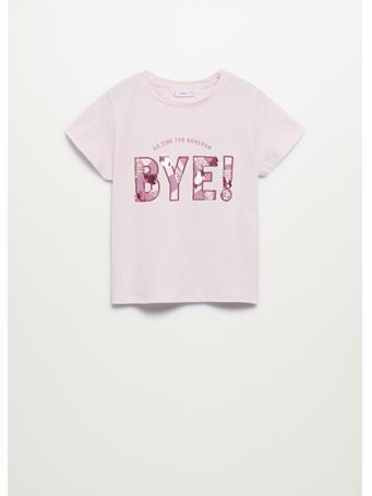 MANGO - Sequined Message T-shirt 82 LIGHT PINK