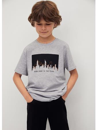 MANGO - Printed Cotton-blend T-shirt 94 MEDIUM GREY