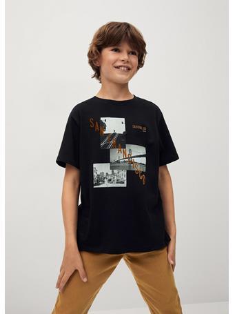MANGO - Printed Cotton-blend T-shirt 99 BLACK