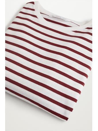 MANGO - Striped Long Sleeves T-shirt 75 DARK RED