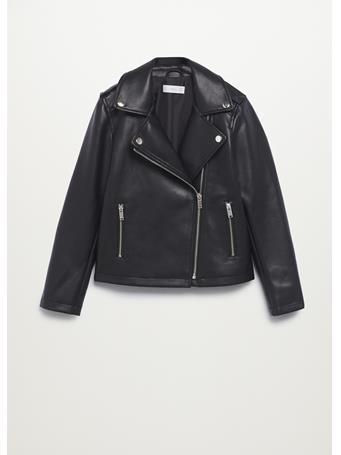 MANGO - Leather-effect Biker Jacket 99 BLACK
