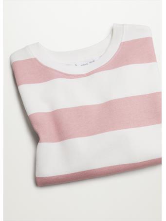 MANGO - Striped Cotton-blend Sweatshirt 85 PINK