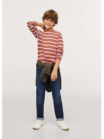 MANGO - Striped Long Sleeves T-shirt 76 DARK RED