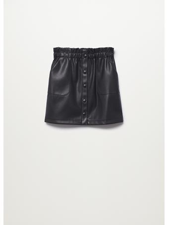 MANGO - Buttons Faux Leather Skirt 99 BLACK