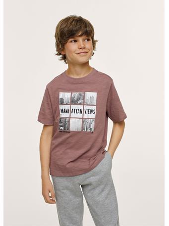 MANGO - Printed Cotton-blend T-shirt 78 DARK RED