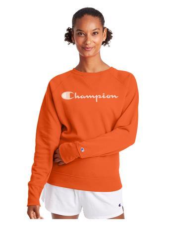 CHAMPION - Powerblend Fleece Classic Crew, Script Logo POPPY ORANGE