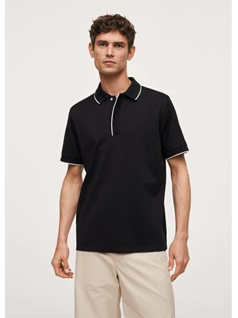 MANGO - Contrast Trim Cotton Polo Shirt BLACK