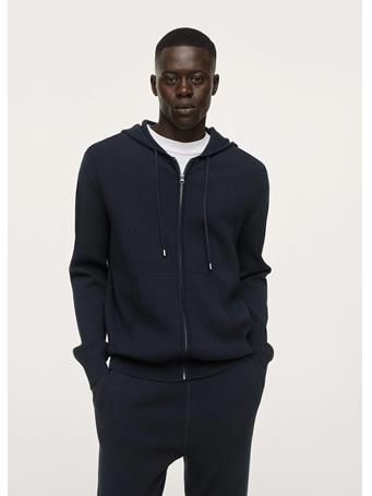 MANGO - Textured Knit Hooded Sweatshirt NAVY