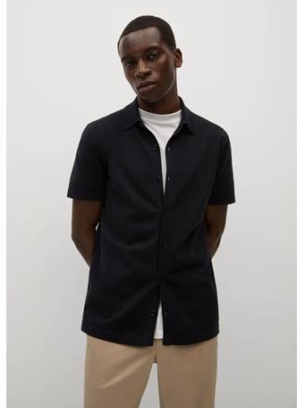 MANGO - Regular-fit Knit Shirt BLACK