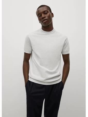 MANGO - Knit Cotton T-shirt GREY