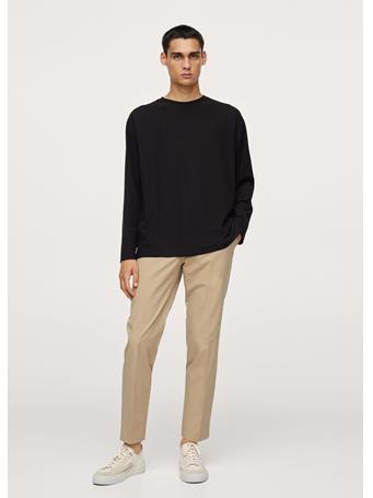 MANGO - Long Sleeve Piqué T-shirt BLACK