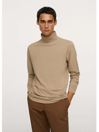 MANGO - Turtleneck Long-sleeved T-shirt BEIGE