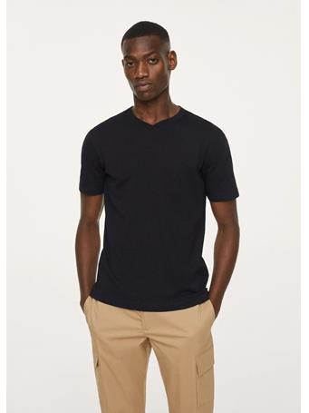 MANGO - Basic Cotton V-neck T-shirt BLACK