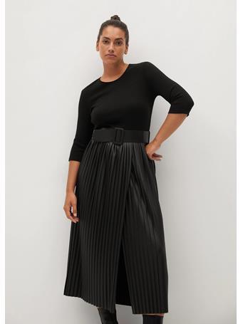 MANGO - Belt Pleated Dress BLACK