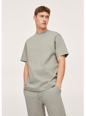MANGO - Plain Cotton T-shirt GREEN