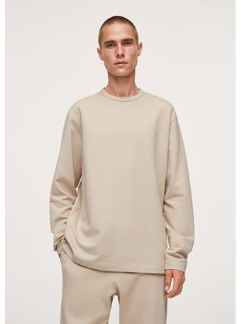 MANGO - Relaxed Long-sleeve T-shirt BEIGE