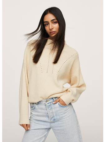 MANGO - Contrasting Knit Sweater LIGHT BEIGE
