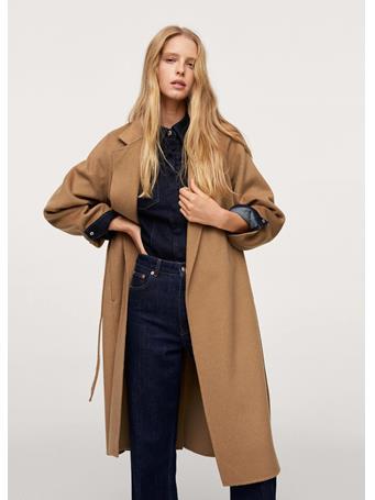 MANGO - Belt Handmade Coat MEDIUM BROWN