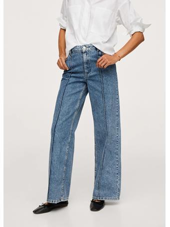 MANGO - Wide-leg Jeans With Decorative Seams MEDIUM BLUE