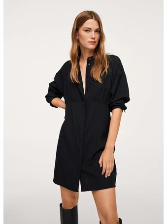 MANGO - Puffed Sleeves Dress BLACK