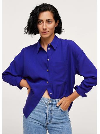 MANGO - 100% Lyocell Shirt MEDIUM BLUE
