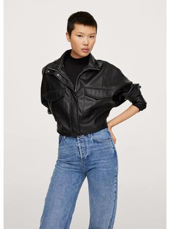 MANGO - Short Leather-effect Jacket BLACK