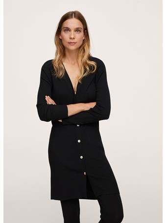 MANGO - Buttoned Ribbed Cardigan BLACK