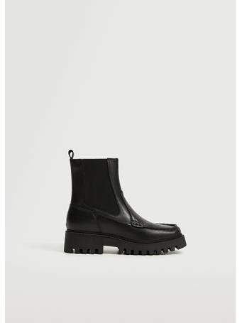 MANGO - Leather Track Sole Ankle Boots BLACK
