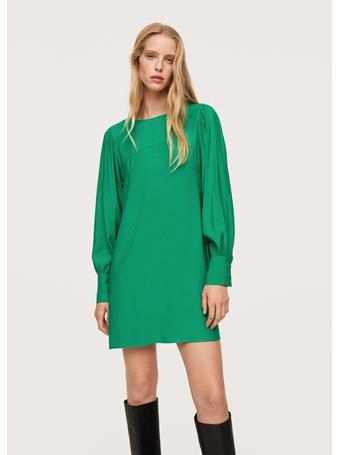 MANGO - Puffed Sleeves Dress MEDIUM GREEN