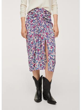 MANGO - Knot Printed Skirt NATURAL WHITE